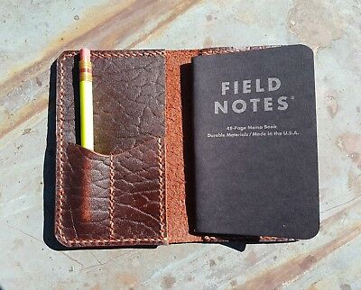 Handmade Bison Leather Field Note Cover Notebook Folder Rockerbie Leather