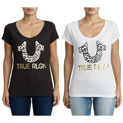 True Religion Women's Metallic Gold Foil Leopard Horseshoe V-Neck Tee T-Shirt