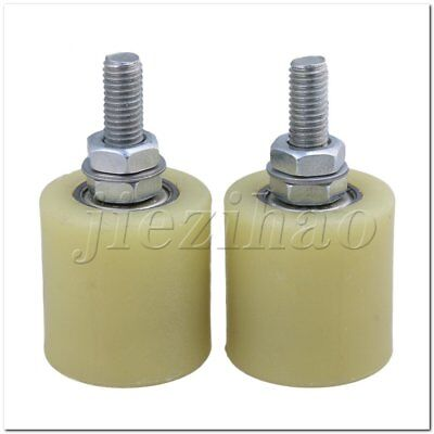 2 x Flat 40mm Dia 44mm Heigh PP Guiding Wheel with 6201 Bearing Insert