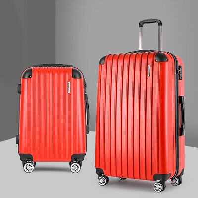 2 Pc Travel Luggage Case Lightweight Hard Shell Dual Wheels TSA Lock Trolley Red