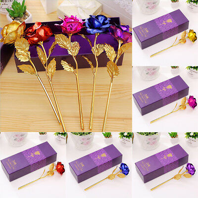 24K Gold Plated Rose Anniversary Valentine's Day Gift Mothers Day Girlfriends