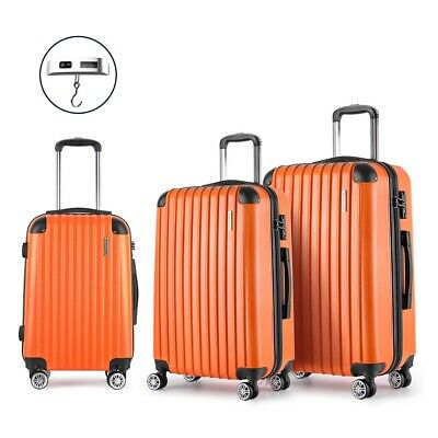 3 Pcs Luggage Suitcase Trolley Set TSA Hard Case Lightweight Travel Bag Orange