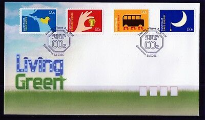 2008 Australia Living Green Set of 4 S/A Stamps First Day Cover, Mint Condition