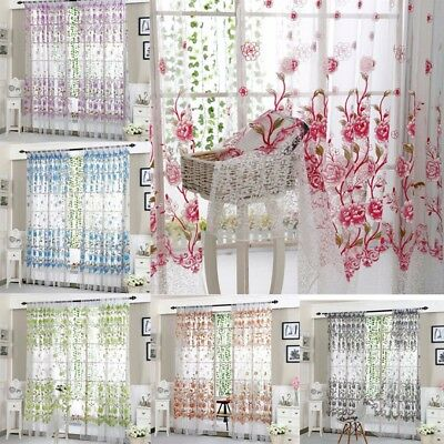 1x2m Floral Tulle Voile Door Window Drape Panel Sheer Scarf Valances Curtain