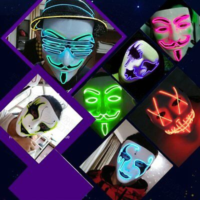 LED Mask Halloween Grimace Masquerade Horror Light up Clown Cosplay D Type DF
