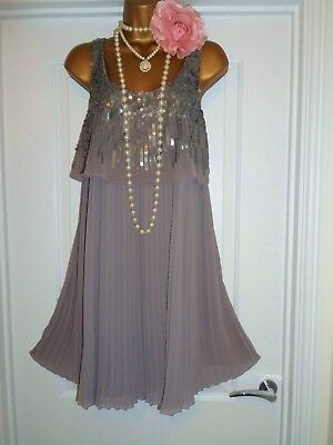 NEXT 1920s Style Gatsby Flapper Charleston Beaded Sequin Dress Size 14 NEW