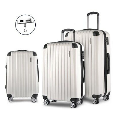 3 Pcs Luggage Case Family Travel Trolley Lightweight Hard Shell TSA Lock White