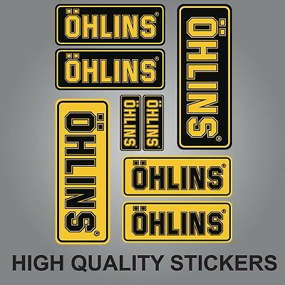 8x OHLINS SHOCK FORK DAMPER STICKERS DECALS SHEET SPONSOR KIT BLACK AND YELLOW
