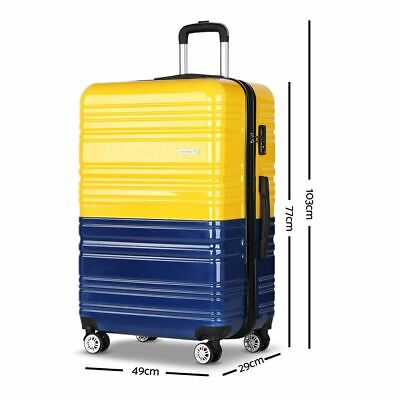 3 Pc Luggage Suitcase w/ TSA Lock Lightweight Premium Hard Shell Yellow & Purple