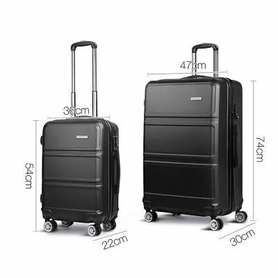 "2pc Travel Luggage Set Men Trolley Suitcase Lightweight Hard Shell Black 20"" 28"""