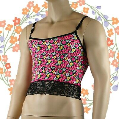 Male Daisy Print Camisole Top, Mens Sexy Lingerie Underwear