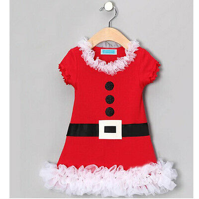 AU Christmas Santa Baby Kids Girls Princess Lace Ruffle Skirt Dress Costume