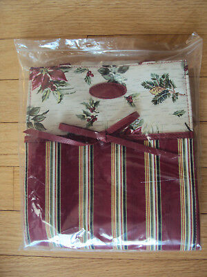 LONGABERGER GIFT BAG Holiday Striped & Botanical Fabric #23540 New in Package