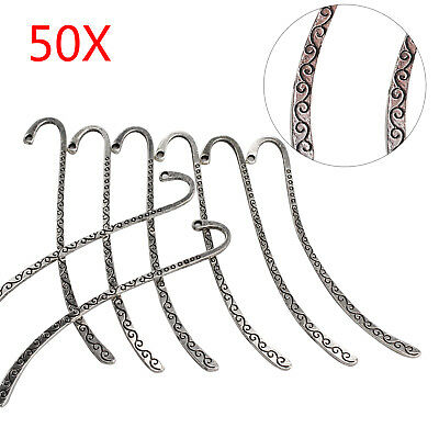 50pcs Silver Metal Bookmarks Book Mark With Hook Jewelry Findings Decor DIY UK