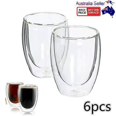 6x 350ML Double Wall Insulate Glass Coffee Wine Beer Cups Mugs Heat Resistant