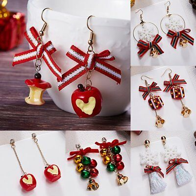 Christmas Jewelry Earrings Womens Girl Snowflake Bell Bow Drop Dangle Xmas Gift