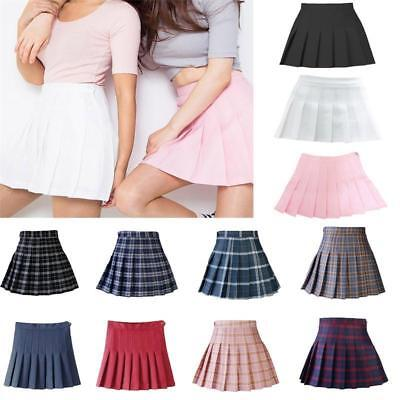 US Women Polyester Tennis High Waist Plaid Skater Pleated Short/Mini Skirt Dress