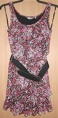Mia Moda Black & Pink Mix Floral Print Semi Fitted Dress with Wide Belt size 10