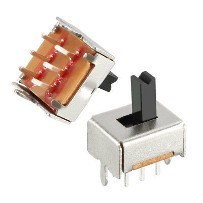 100Pcs 5mm Vertical Slide Switch DPDT 2P2T 6 Terminals PCB Panel Latching Type