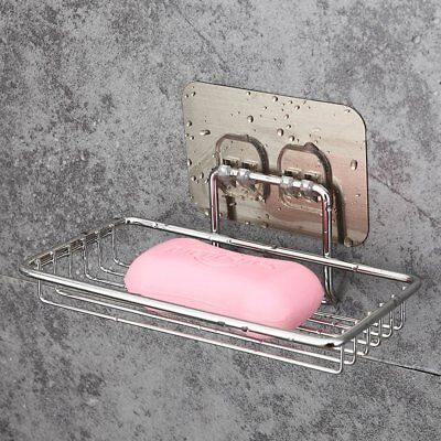 Stainless Steel Strong Suction Cup Bathroom Soap Holder Dish Tray Accessories I2
