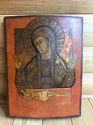"Antique 19c Russian Orthx Hand Painted Wood Icon ""Do not cry my mother"""