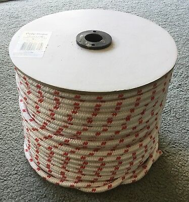 10mm x 100m Double Braided Poly Rope 400kg Breaking Strain Red & White - New