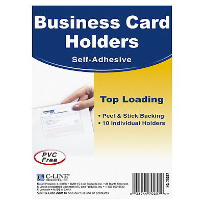 C-Line Top Load Business Card Holders, Self-Adhesive, Clear, Pack of 10