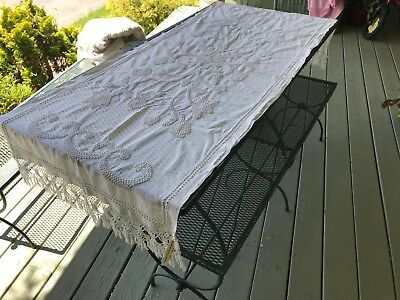 1880's french knots on white muslin knotted fringed ends lay over sham / runner