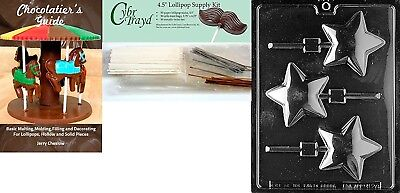 """Cybrtrayd """"Rounded Star Lolly"""" Chocolate Mould with Chocolatier's Bundle,"""
