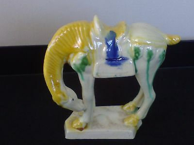 Vintage Asian Chinese  Glazed Ceramic Ming /Tang Style Horse Statue-Pearl White