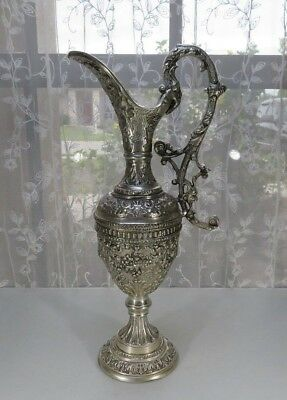 Important silverplate metal jug Gothic Mediéval Décor Barock German Deco 16""