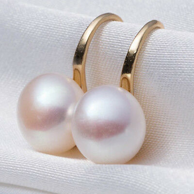 6-7mm Genuine Natural White Akoya Freshwater Pearl Gold color hook  Earrings