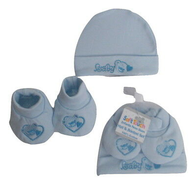 Baby Boys Teddy Hat and Bootee Gift Set Soft Touch Pale Blue