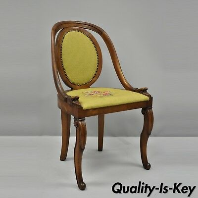 Victorian French Regency Style Swan Carved Mahogany Side Chair Green Needlepoint