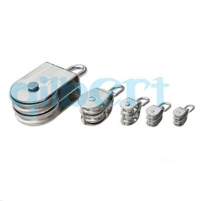 15-100mm Swivel Stainless Steel Silver Wire Rope Double-sheaved Pulley Roller
