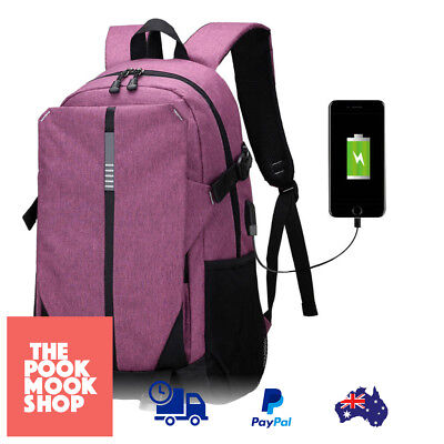 Ultra Smart Rechargable Large Laptop Bag, Backpack with USB Charging Port Purple