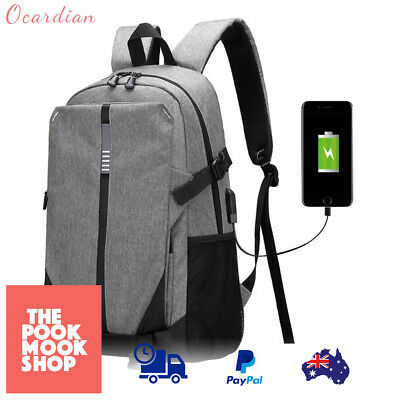Ultra Smart Rechargable Large Laptop Bag, Backpack with USB Charging Port (Gray)