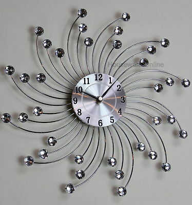 33Cm Handcrafted Diamante Beaded Jeweled Sunburst Silver Black Wall Clock 114