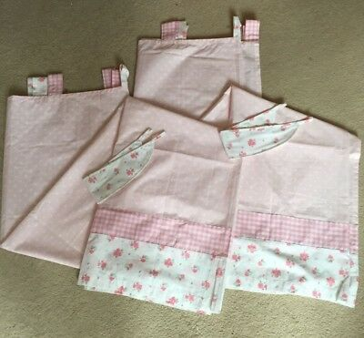 Mothercare Daisy Lane Curtains, Tiebacks And Matching Coverlet For Cot/Cot Bed