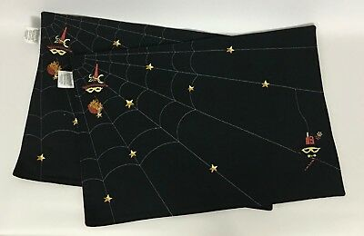 Set of 2 Longaberger Reversible Halloween Placemats Spider Web Weaver Stripes