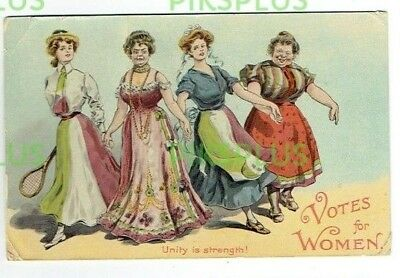 """Suffragette Propaganda Postcard """" Unity Is Strength """" Votes For Women Used 1915"""