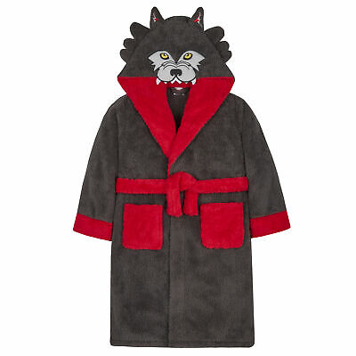 Boys Wolf Dressing Gown Robe All In One Animal Hood Snuggle Fleece Set Soft