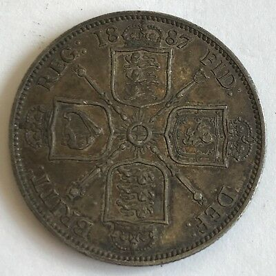 Antique 1887 Victoria Victorian Jubilee Head Silver Two Shilling Florin Coin