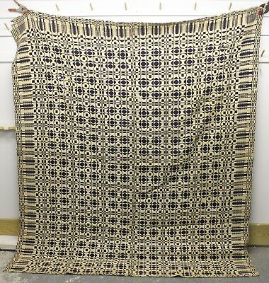 """Antique COVERLET ~ HAND MADE ~ Museum Quality Stitching ~ 75"""" x 85"""" vintage old"""