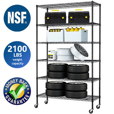 "6 Tier Commercial Wire Shelving Rack 48""x18""x82"" Adjustable Metal Rack W/Casters"
