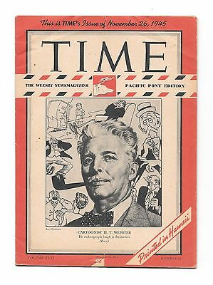 Time Magazine Pacific Pony Edition Nov 26, 1945. Cartoonist H. T. Webster. WWII.