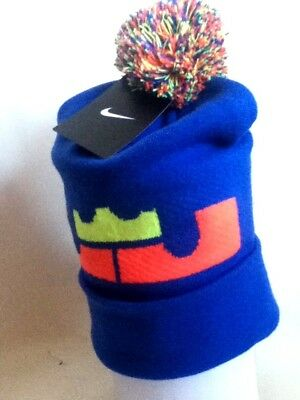 NIKE LEBRON JAMES Pom Beanie Hat 707598 439 Adult Unisex Blue Knit ... 1f9413313ced