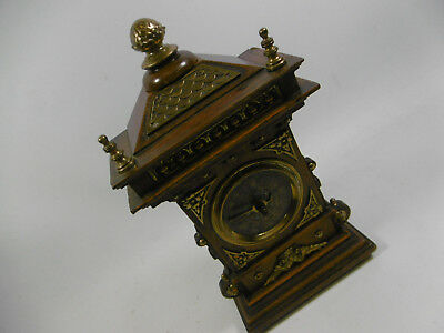 Watch Fireplace Clock Wood Brass Manual Winding Antique Table Bell Alarm