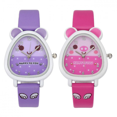 MANIFO 2pcs/Set Kids Cartoon Watch PU Leather Analog Quartz Wrist for Girls Boys