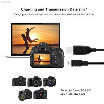 PULUZ Mini 5Pin USB Data Cable Cord For GoPro Hero4 3+ 3 Canon EOS 50D 60D 70D
